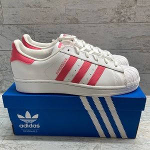 Adidas Superstar White & Hot Pink sneakers